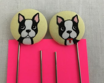 Boston Terrier Covered Button Giant Paperclip Bookmark, PaperOrganizer