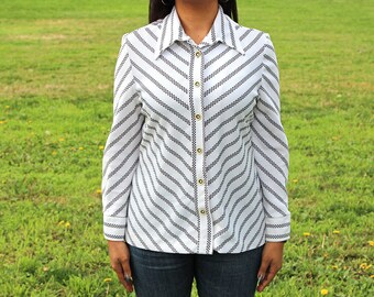 Ivory and Brown Zig Zag Button Up Blouse