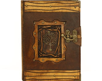 Winter Tree  Brown Large Leather Handmade Journal Diary Notebook Plain Paper Book