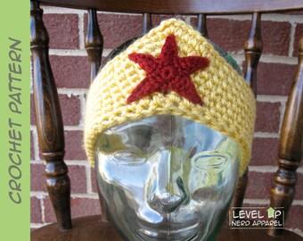 Wonder Woman headband CROCHET PATTERN    6 sizes    Instant Download