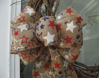 Patriotic decor, Red, White and Blue stars on wire edged burlap, Patriotic wreath bow, 4th of July, Memorial day, Labor day, Veteran's day