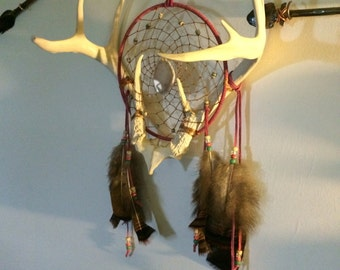 Girls/Womens/moms pink antler dream catcher with matching agate slice and turkey feathers