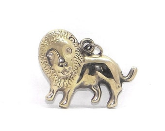 CIJ 14K Puffy Lion Charm - Vintage Leo the Lion - King of the Jungle