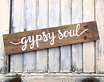 Inspirational Wall Art Reclaimed Wooden Sign-Gypsy Soul Yoga Sign