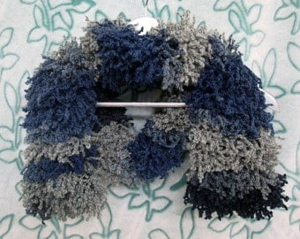 Furry Monster Scarf - Blues & Greys