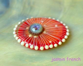 jasmin french ' JELLY ' ringtop lampwork bead interchangeable jewelry