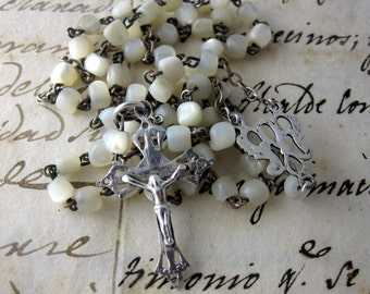 Delicate Mother of Pearl Beads and Silver Plated Rosary