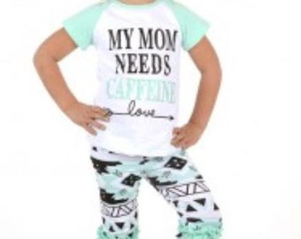 My Mom Needs Caffeine Capri set