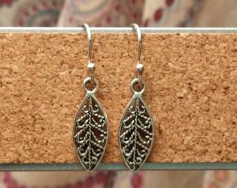 Dainty Sterling Leaf Earrings