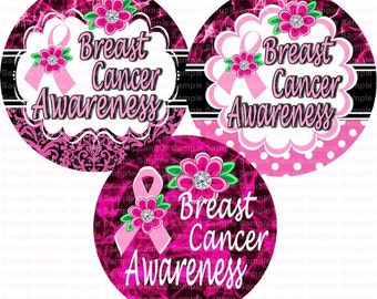 Breast Cancer Awareness Flowers Bottle Cap Images 4x6 Bottlecap Collage Scrapbooking Jewelry Hairbow Center