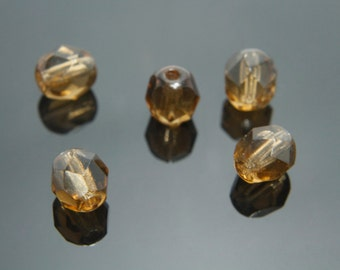 Fire-polished round faceted, FP06-05, 100 pcs, 6mm, Smoke topaz, Czech glass beads, Jewelry component, Jewelry beads, 10220