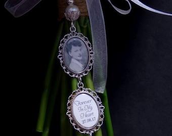 Pearl - Double Bridal Bouquet Photo Charm,  Memorial Charm, 25x18 Photo , Bouquet Charm