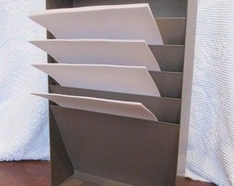 Industrial mid century metal office file holder sorter retro vintage magazine storage organization
