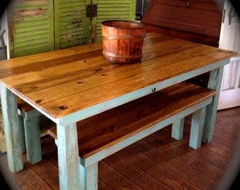 Farm Table w/2 benches///CUSTOM ORDER////////Local Pick Up Only, please read listing///// made from a combination of new and reclaimed wood