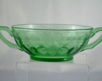 Heisey Bowl Small Handles Moongleam Green Optic Dots Etched