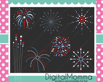 July 4th, Independance day, Red, White, Blue Fireworks Clipart, Instant Download!