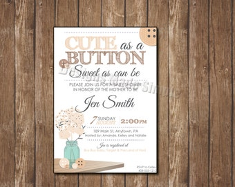 Gender Nuetral Cute as a Button Baby Shower Invitation - Printable - customizable