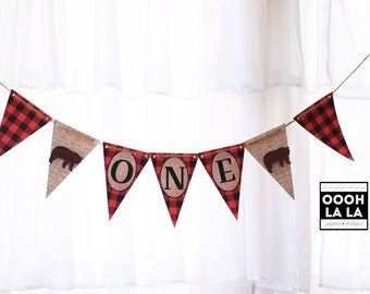 MADE TO ORDER Lumberjack Buffalo Plaid and Burlap Banner- different text options