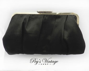 Vintage Black Satin Clutch/Purse, Evening Handbag/Retro Fashion