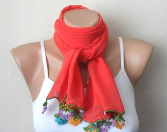 orange scarf boho scarf virgin cotton scarf shawls wrap yemeni scarf oya scarf fashion accessories womens scarf gift for her