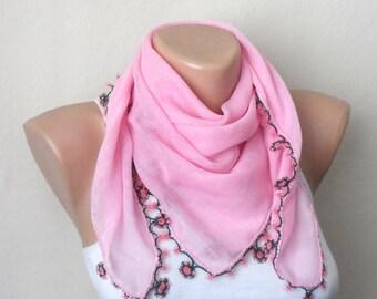 pink scarf flower green pink cotton turkish yemeni oya handmade