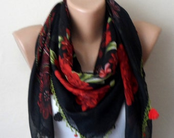 black scarf green  flower red cotton turkish yemeni oya handmade