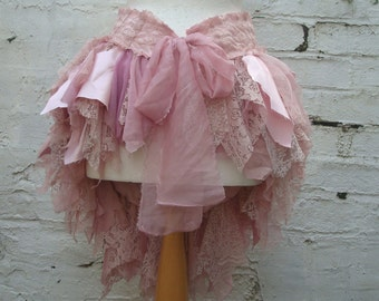 Upcycled Bustle Woman's Clothing Mori Girl Tattered Blush Dusty Pink Lace  Satin Layers Sweet Sugar Marie Antoinette