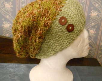 Cute Trendy Sage Green/Multi Handmade Knitted/Crochet Ladies Slouch Hat