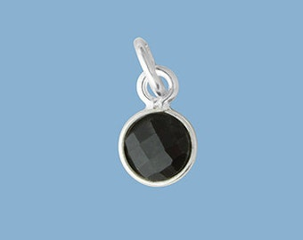 1ea. Tiny 6mm Black Onyx Bezel Pendant.  Sterling Silver with 5mm Jump Ring Birthstone