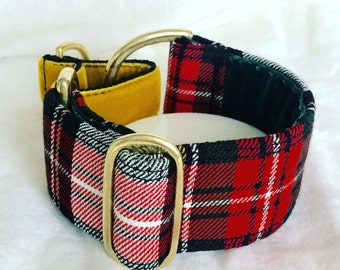 "Tartan Simple Adjust Italian Greyhound/Whippet Martingale Collar in 1.5""/38mm  with solid brass fittings, velvet and polypropylene webbing"