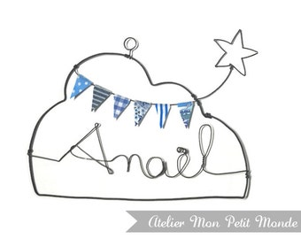 Cloud wire to suspend, with first name Garland of pennants and star, Christmas present, color choices, baby gift