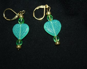 Vaseline Glass Dangle Earrings-Glowing  Hearts
