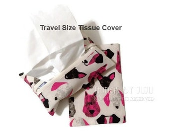 Dog Fabric Tissue Cover, Dog Lover Tissue Cozy, Purse Pack Tissue Cover, Pink Black Tissue Holder, Valentine For Her