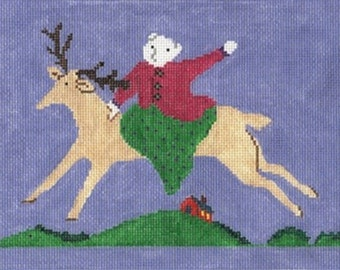 NEEDLEPOINT Hand Painted Canvas Jane Cather HORSE Beverly Giddy Up 6x9 -Free US Shipping!!!