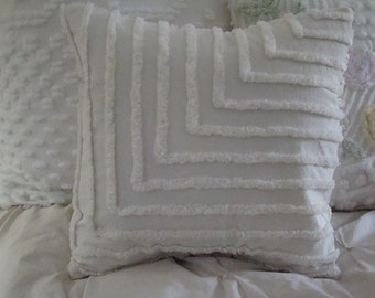 "SALE-Cream Chevron Striped Chenille Pillow Cover for 16"" Pillow Insert Was 25.00 Now 20.00"