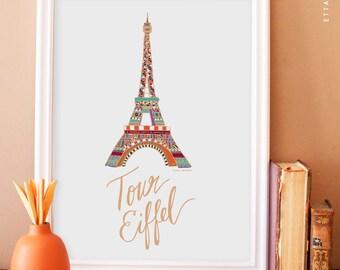 Eiffel Tower Illustration No.5 - multi-color. eiffel tower art print. french wall art. apartment decor. paris art print. nursery art print.
