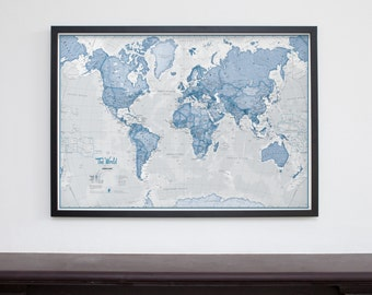 Framed 'The World is Art' Wall Map - Blue