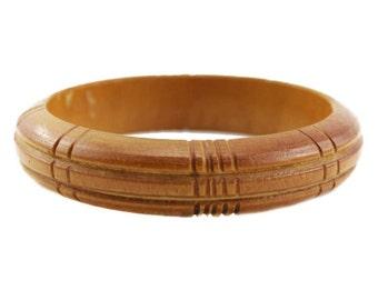 Vintage Chunky Wood Bangle Bracelet,  Wooden Bangle Bracelet, Natural Wood Bracelet, Carved Wood Bangle