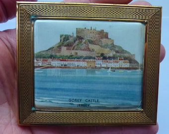 Sweet Little Vintage 1940s Gwenda Cigarette Case / Business Card Case with View of Gorey Castle, Jersey