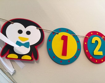 Penguin Theme 1-12 Month Photo Banner