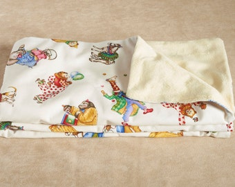 CIRCUS CLOWNS baby blanket- Receiving Blanket - Baby's 1st Blanket - Baby Shower Gift- Minky Blanket