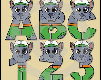 Rocky - Paw Patrol - Alphabet Letters & Numbers Clip Art Graphics