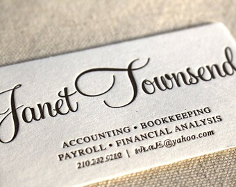 Letterpress Business Cards Calling Card Custom Calligraphy