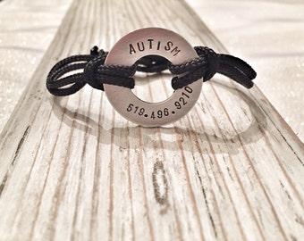 Autism awareness bracelet - Child ID Autism bracelet. Special needs bracelet.