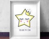 You Are My Star Poster - Inspirational Poster, Nursery Wall Art - Playroom Poster - Poster Nursery Art, Alphabet Poster - 24-0004
