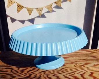 Upcycled Cake stand / cupcake stand / pedestal / blue party decor