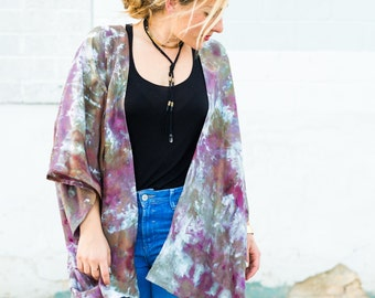 Hand-dyed Silk Kimono Duster in Eggplant and Olive
