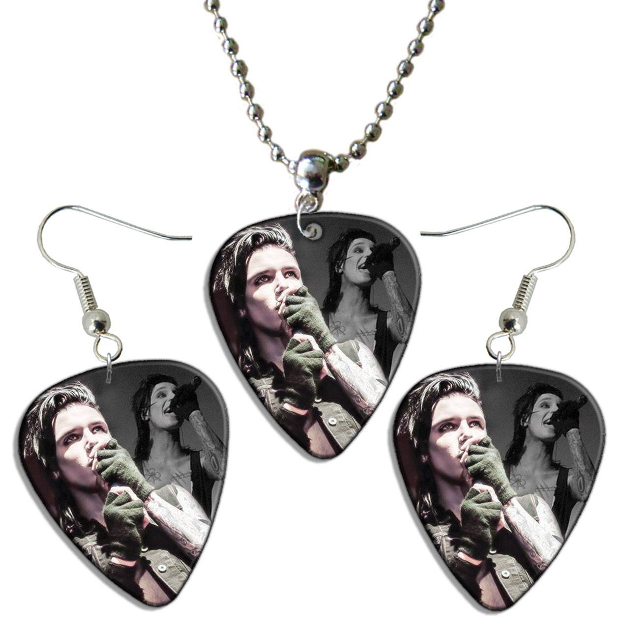 black veil brides live guitar plectrum earrings