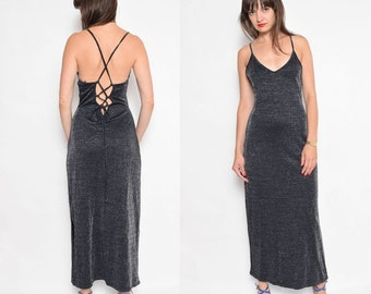 Vintage 90's Strappy Metallic Black Maxi Dress / Sleeveless Lace Up Back Dress