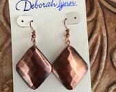 Cooper Diamond-Shaped Metal Dangle Statement Earrings